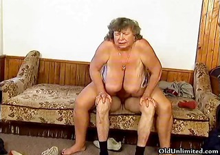 dirty grandma with large love muffins riding part3
