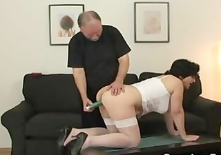 her old hirsute pussy is toyed and drilled