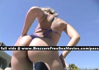 nice blonde girl outside near a pool
