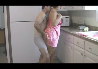 son fucking plump mother in kitchen