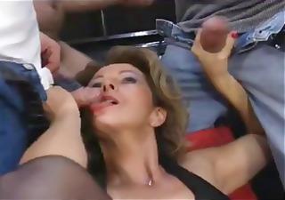 Mature German bitch attends a spunky sperm party